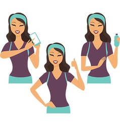Fitness girl using smart device vector