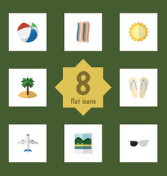 Flat icon beach set of coconut aircraft vector