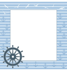 frame for text or photo with the steering wheel vector image vector image