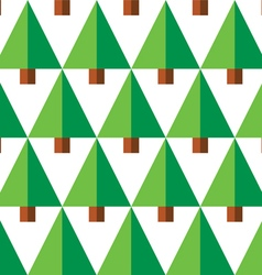 Geometric seamless pattern with green trees vector