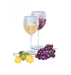 Glasses of wine with grapes and piece of cheese vector