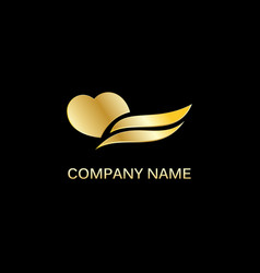 gold heart wave logo vector image vector image