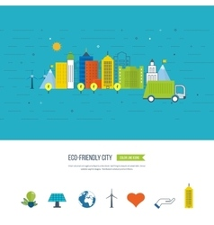 Green eco and eco-friendly city Smart city vector image vector image