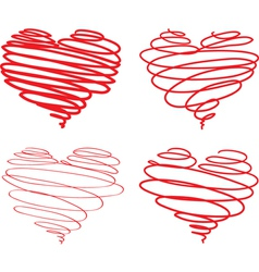 Hearts from lines vector image vector image