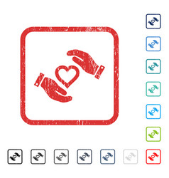Love heart care hands icon rubber watermark vector