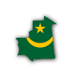 map and flag of mauritania vector image vector image