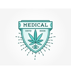 Medical cannabis marijuana sign or label template vector