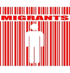 Migrants word and human icon in barcode vector