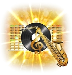 music in flash treble clef vinyl sax vector image vector image