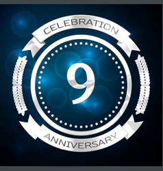 nine years anniversary celebration with silver vector image vector image
