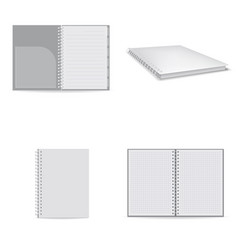 notebook icons set realistic style vector image