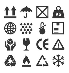 Packaging and shipping symbols set vector