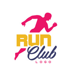 run club logo template emblem with abstract vector image vector image