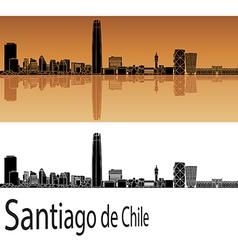 Santiago de Chile skyline in orange vector image vector image