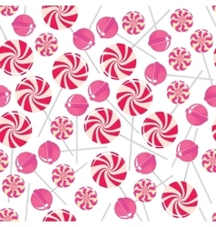 Seamless pattern with pink lollipops vector