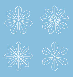 Set of simple round mandala snowflakes on blue vector
