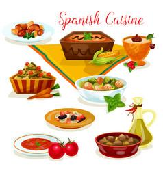 Spanish cuisine tasty dinner menu cartoon icon vector