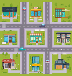 Suburb street cafe map seamless vector