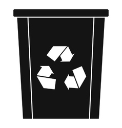 Trash bin with recycle symbol icon simple style vector image