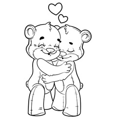 Two cute teddy bears in love outlined on a white vector