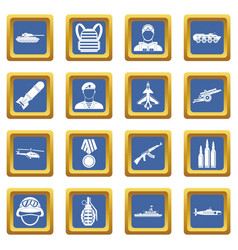War icons set blue vector