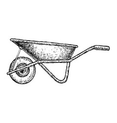 wheelbarrow isolated sketch vector image