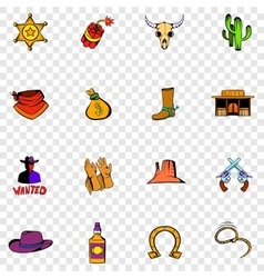 Wild West set icons vector image vector image