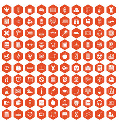 100 learning kids icons hexagon orange vector image vector image
