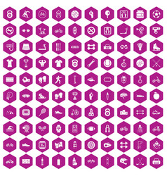100 sport icons hexagon violet vector