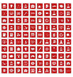100 statistic data icons set grunge red vector