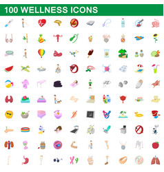 100 wellness icons set cartoon style vector image vector image