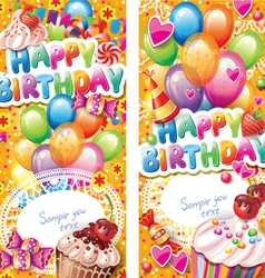Happy birthday vertical cards vector image