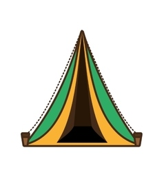 Triangle tent tourism travel yellow and green vector
