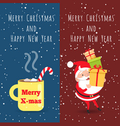 Merry christmas and happy new year cup santa vector