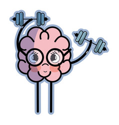 Icon adorable kawaii brain doing exercise vector