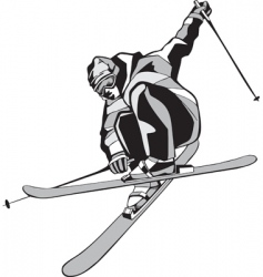 mountain skier silhouette vector image