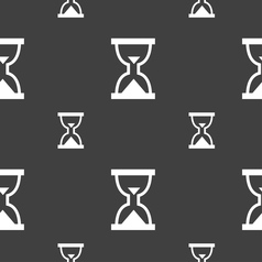 Hourglass sand timer icon sign seamless pattern on vector
