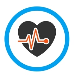 Heart pulse rounded icon vector