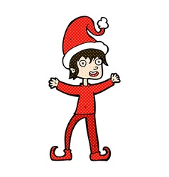 Comic cartoon excited christmas elf vector