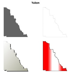 Yukon blank outline map set vector