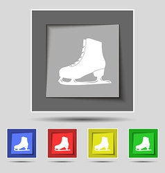 Ice skate icon sign on original five colored vector