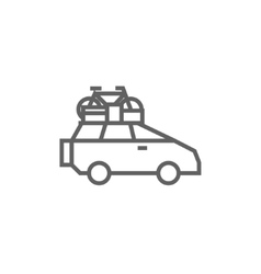 Car with bicycle mounted to the roof line icon vector