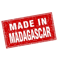 Madagascar red square grunge made in stamp vector