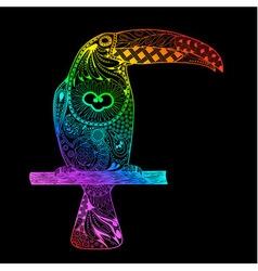 Rainbow gradient toucan vector image