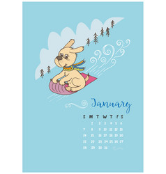 a calendar for the month of january 2018 vector image vector image