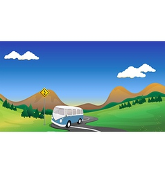 A curve road with a bus vector image