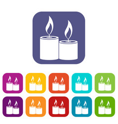 Aromatic candles icons set vector