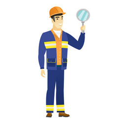 asian builder holding hand mirror vector image
