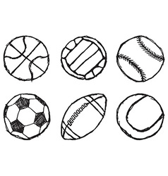Ball sketch set simple outlined isolated on white vector image