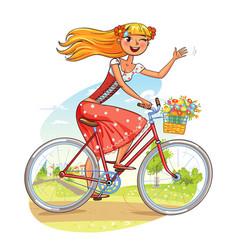Beautiful girl rides a bicycle and waving vector